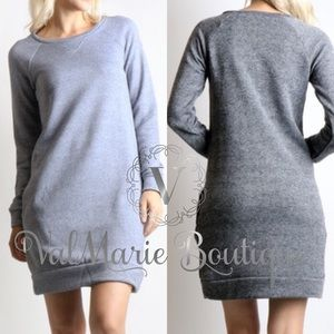 Heather Grey Sweatshirt Dress with Pockets