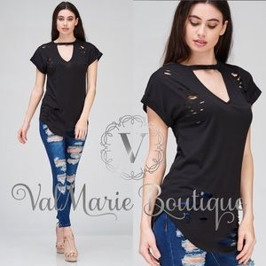 ValMarie Boutique Tops - Destroyed Lean and Long Tshirt