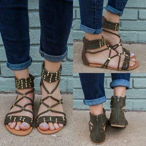 Khaki gladiator strappy rope ankle cuff sandal
