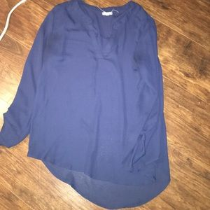 Eyeshadow Tops - Navy blue three-quarter sleeve V-neck blouse large