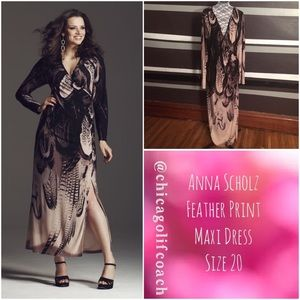 Anna Scholz Dresses & Skirts - New With Tags Anna Scholz Feather Print Maxi Dress