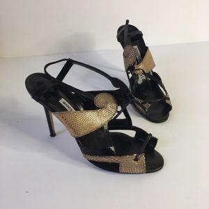 Manolo Blahnik Shoes - Manolo Blahnik black and gold ankle tie heels