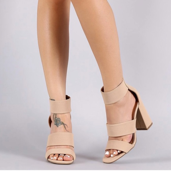 60 Off Bamboo Shoes Double Band Ankle Cuff Chunky Heel