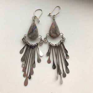 Artisan Jewelry - Artisan natural  stone chandelier earrings