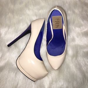 Shoes - Nude platform heels with blue/purple heel