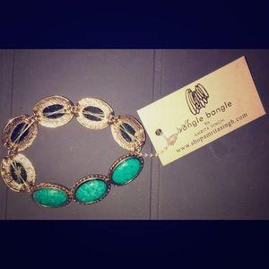 Amrita Singh Jewelry - NWT Amrita Singh Turquoise Gold Stretch Bracelet