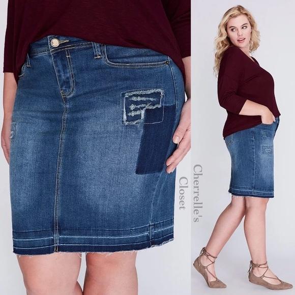 e51e88bccb9 Lane Bryant Jean Pencil Skirt Plus Size
