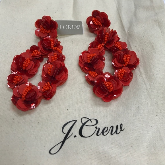 b5dfcabb0e3 J. Crew leather backed petal earrings with sequin