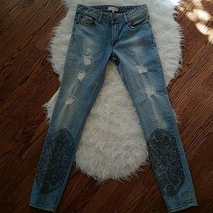 Anthropologie Odd Molly Jeans. boho stencil jeans