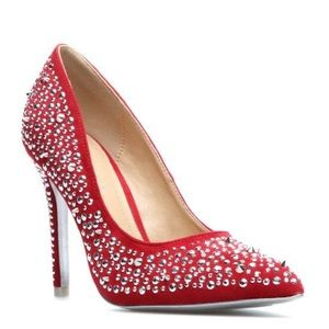 Red Studded Pumps