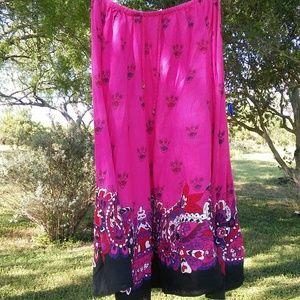Pink & purple flowery paisley skirt L(12/14)