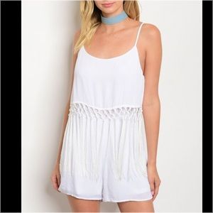 Pants - White Sleeveless with Fringe Romper
