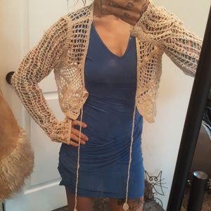 Crochet half cardigan jacket