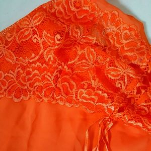 KG Intimates   Sleepwear - Lace Orange Silk Nightgown 5e2bea538