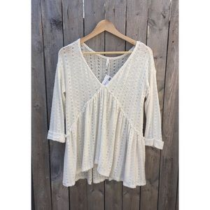 Sage Sweaters - Knit Babydoll Button Back Top - Ivory