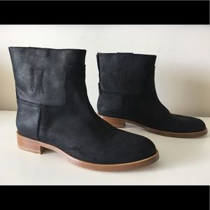 RAG & BONE HOLLY BLACK COATED SUEDE LEATHER BOOTS