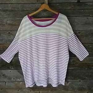 Lane Bryant 18/20 Striped Shirt 3/4 Sleeve