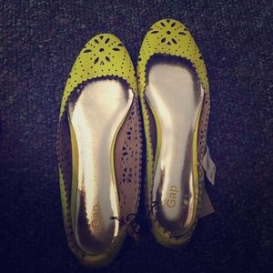 Neon Yellow Floral Flats