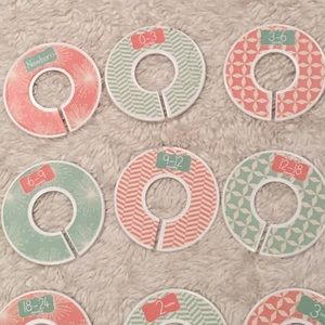Mint and pink clothes size closet dividers n- 6