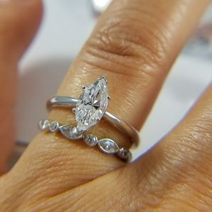 14k White Gold Engagement Ring with Wedding Band