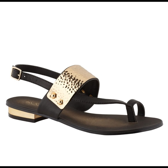 Aldo Shoes - Aldo DOLEA Gold and Black Flat Sandals.