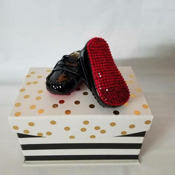 Red Bottom Swarovski Crystal Baby Shoes