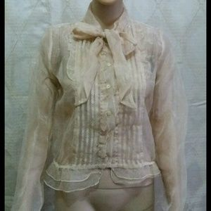 H&M sheer bow blouse NWOT