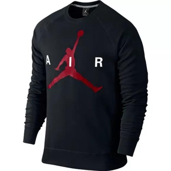 Mens Nike air Jordan black crewneck sweater shirt 0cb114a36a