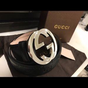 Gucci Other - ✨ Authentic Men Gucci Belt Black Guccisma Silver