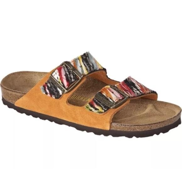 5907454f573aa1 Birkenstock Shoes - Birkenstock Arizona orange multi yarn sandals 38 7
