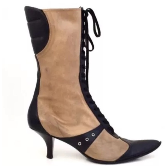 45cdacfd6de4 Pura Lopez Olive   Black Leather Lace Up Boots. M 5908c85c78b31ce120009079