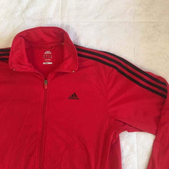 0bebee509 Adidas Jackets & Coats | Climalite Full Zip Red Black Jacket Medium ...