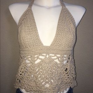 Hand Crocheted Pineapple Lace Crop Top!