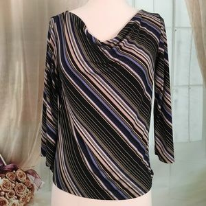 Casual Corner Black Striped Blouse