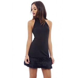 AX Paris Dresses & Skirts - Little Black Fur Trim Dress Feather Fringe Hem Lbd