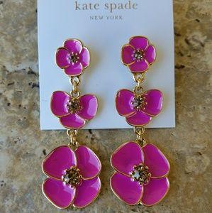 Kate Spade Fuschia Flower Earrings New