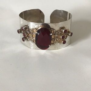 Vintage Jewelry - Vintage Sterling silver 925 bracelet cuff boho