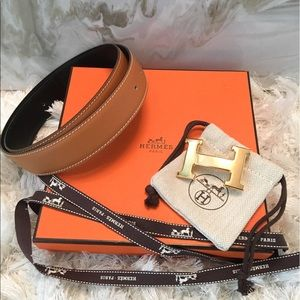 Hermes Accessories - NWB Auth Hermes Constance Gold H Belt Kit 75