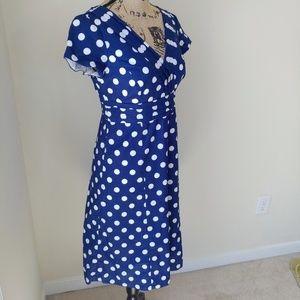 Boden Dresses & Skirts - Boden Navy and White Polka Dot Dress