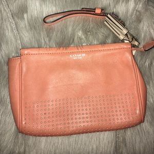 Coach Legacy Perforated Leather Large Wristlet