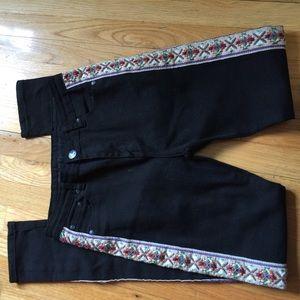 One Teaspoon Pants - One Teaspoon Embroidered Side Black Skinny Jeans
