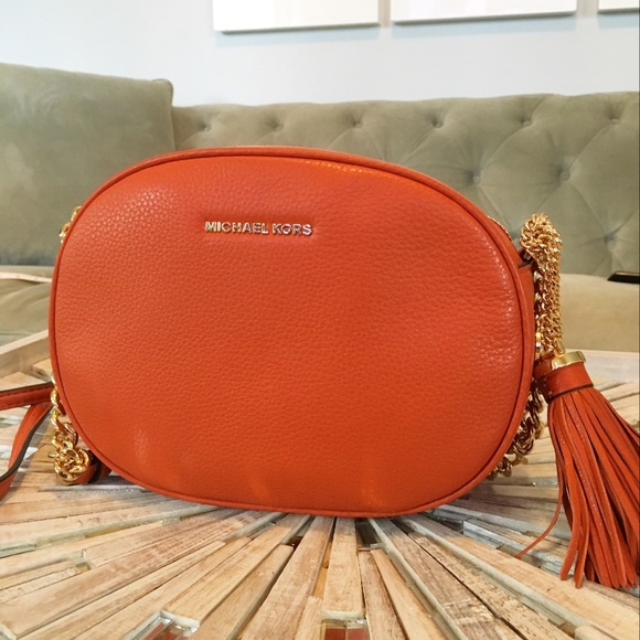4c52d50ba54e NWT Michael Kors Ginny Orange Messenger Bag
