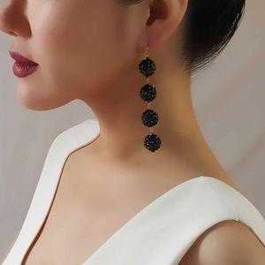 Crystal Ball Earrings - BLACK / SILVER