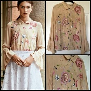 BY TIMO  💐 Embroidered Blouse NWT