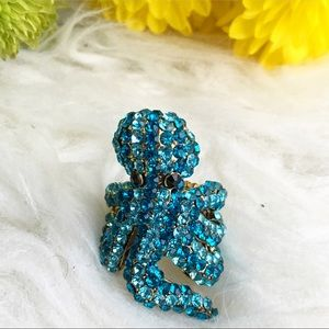 Jewelry - Deep blue sea Octopus statement ring rhinestones