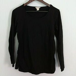 Three Seasons Maternity Tops - Black maternity long sleeve shirt