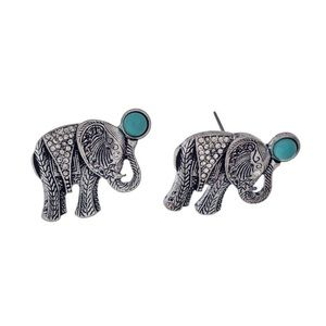 Silver tone elephant earrings with turquoise stone