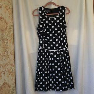 High end Polka dot dress with pleated bottom.NNT