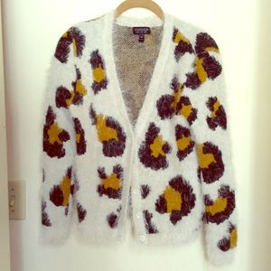 Topshop Sweaters - Fluffy Topshop leopard cheetah cardigan!