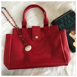 NWT Soft Raspberry Red Faux Leather Tote Bag
